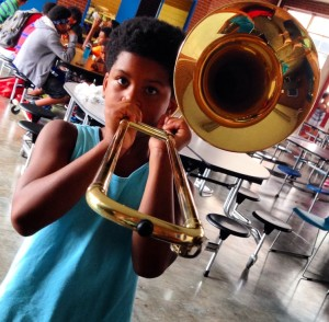 Students participate in the Chattanooga Symphony's Instrument Petting Zoo